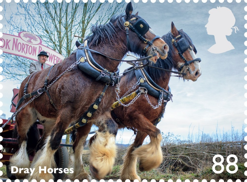 Dray horses feature on the 88p stamp
