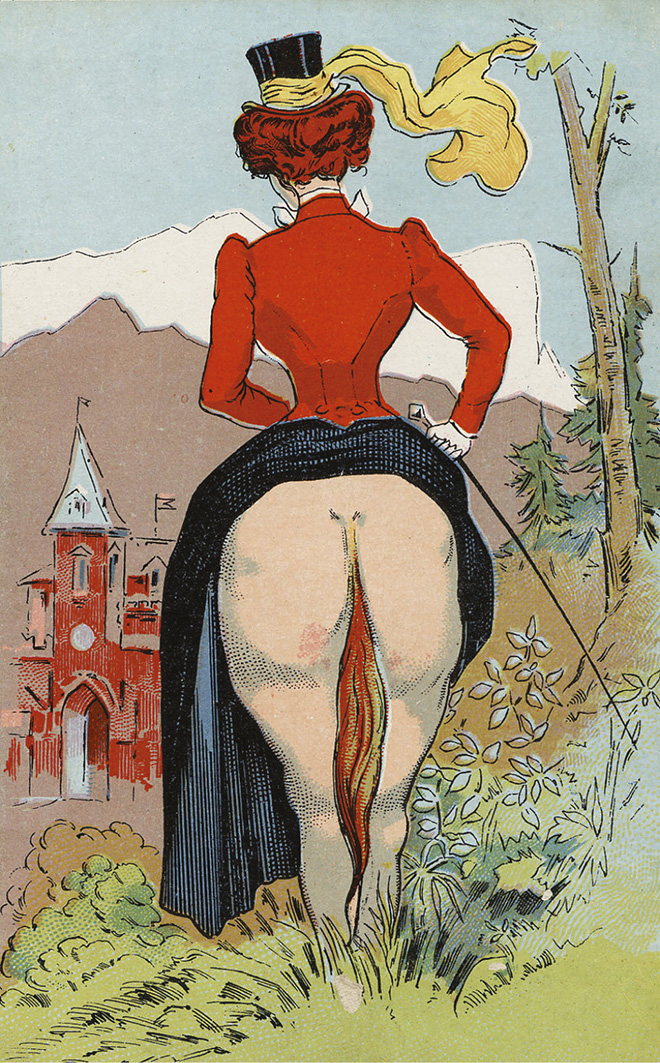 Erotic postcard: Bottom - Horse's or Lady's? Postcard c.1900