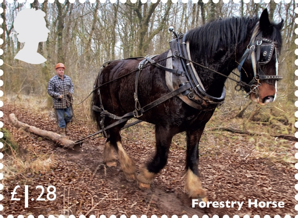 A forestry horse features on the £1.28 stamp