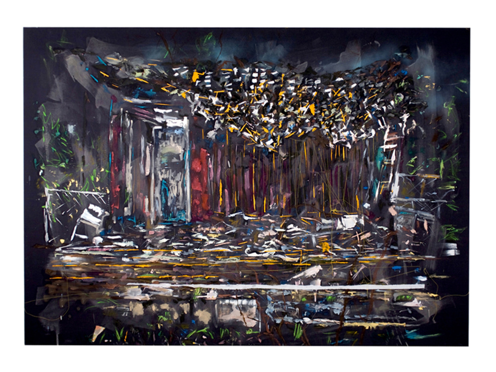 Tameka Norris, Post Katrina 6 ( Diptych), stretched bedsheet,oil paint, 2009