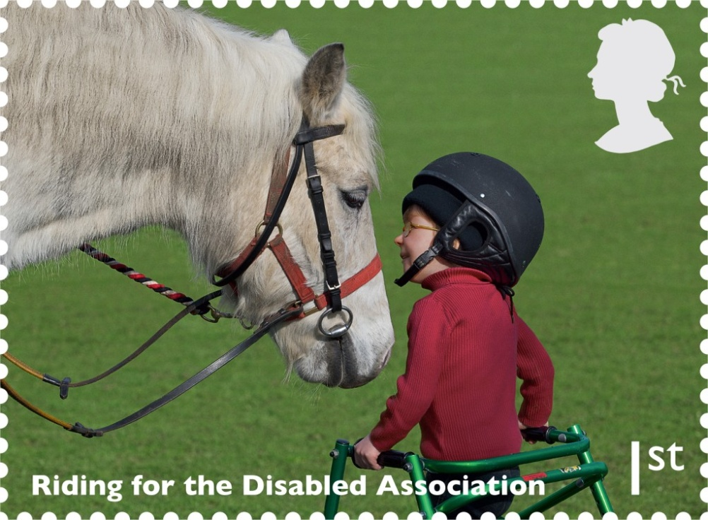 Riding for the Disabled Association is featured on the 1st class stamp