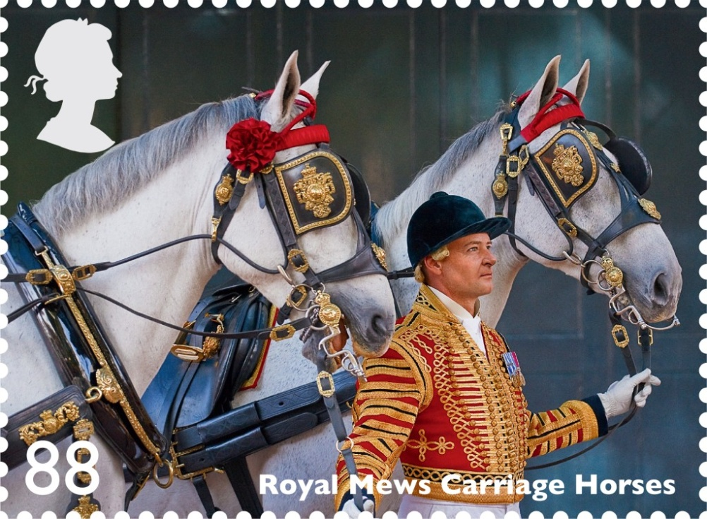 Royal Mews carriage horses feature on this 88p stamp