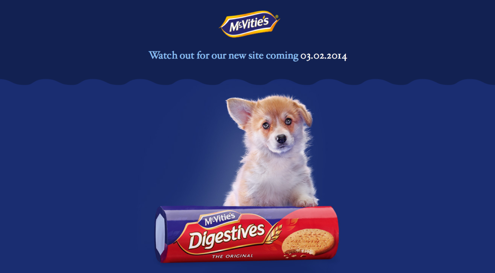 Website holding page showing new Digestives packaging