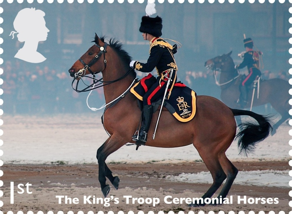 The King's Troop Ceremonial Horses in action on this 1st class stamp
