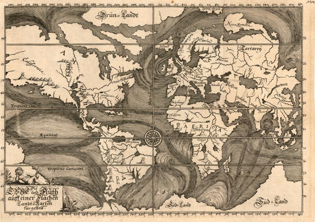 Early Ocean Currents, Eberhard Werner Happel, Die Ebbe und Fluth auff einer Flachen Landt-Karten fu¨rgestelt. Ulm, 1685