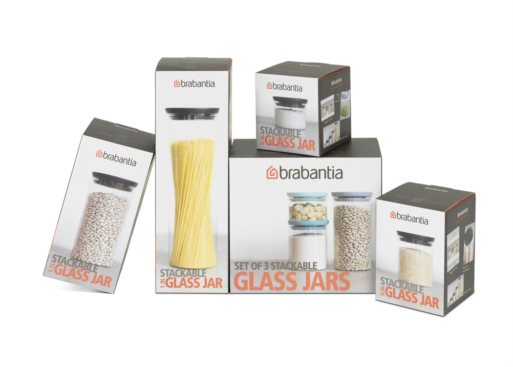 Brabantia glass jars packaging
