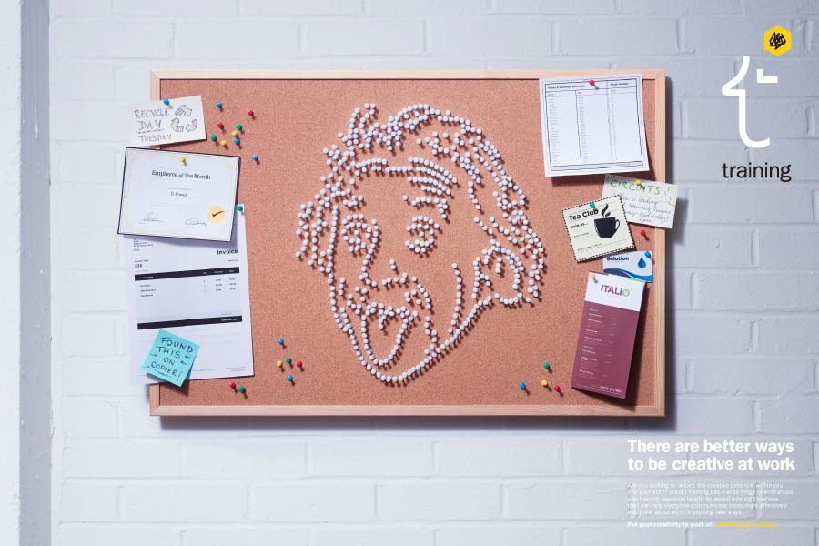 Albert Einstein pinboard portrait
