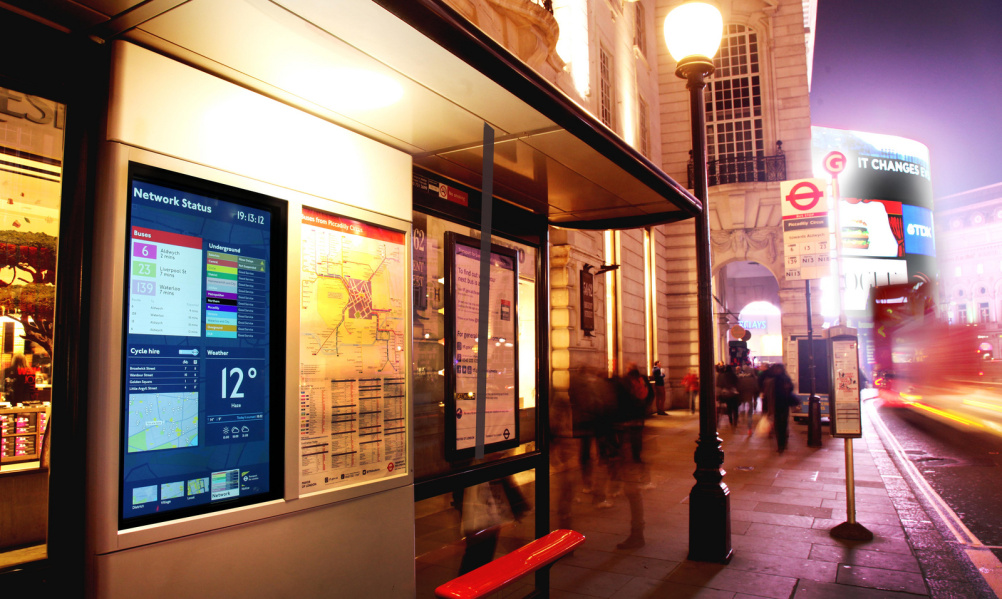 TfL's new interactive bus stop with real-time mapping