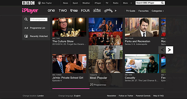 The new iPlayer homepage
