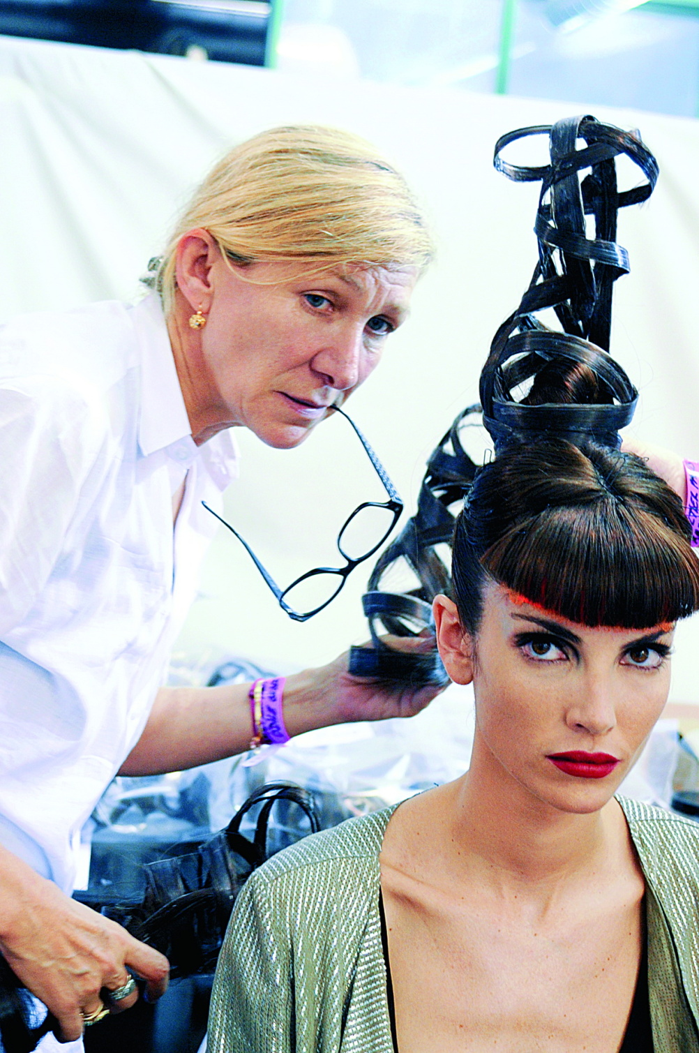 Jean Paul Gaultier Backstage, Odile Gilbert and Eugenia Silva Cages collection Haute couture fall/winter 2008–2009