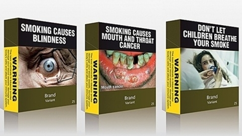 Packaging launched in Australia in 2012 featuring graphic images