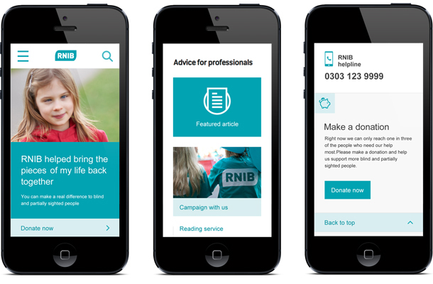 RNIB site on mobile