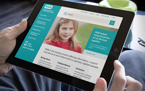 RNIB site on tablet