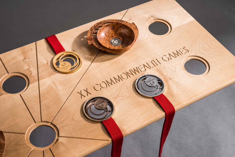 Medals and gifts on presentation tray