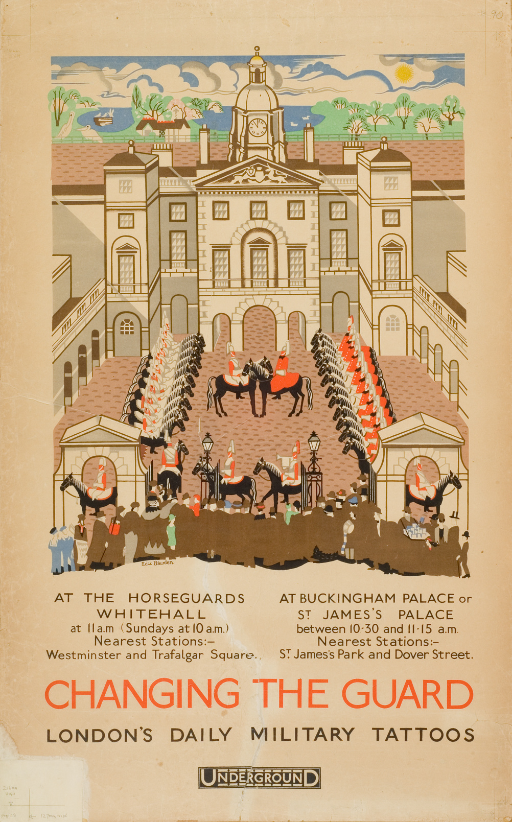 Edward Bawden (1903 – 1989) Changing The Guard: London's Daily Military Tattoos, 1925, lithograph © The Edward Bawden Estate