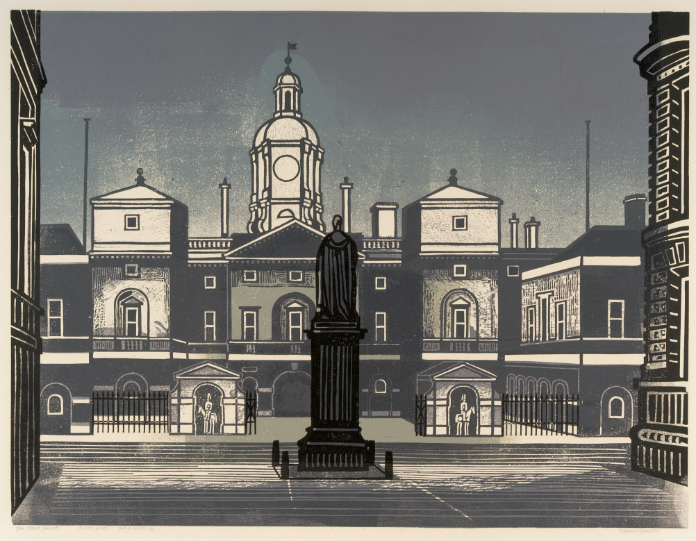 Edward Bawden (1903 – 1989) Nine London Monuments – The Horse Guards, 1966, linocut © The Edward Bawden Estate