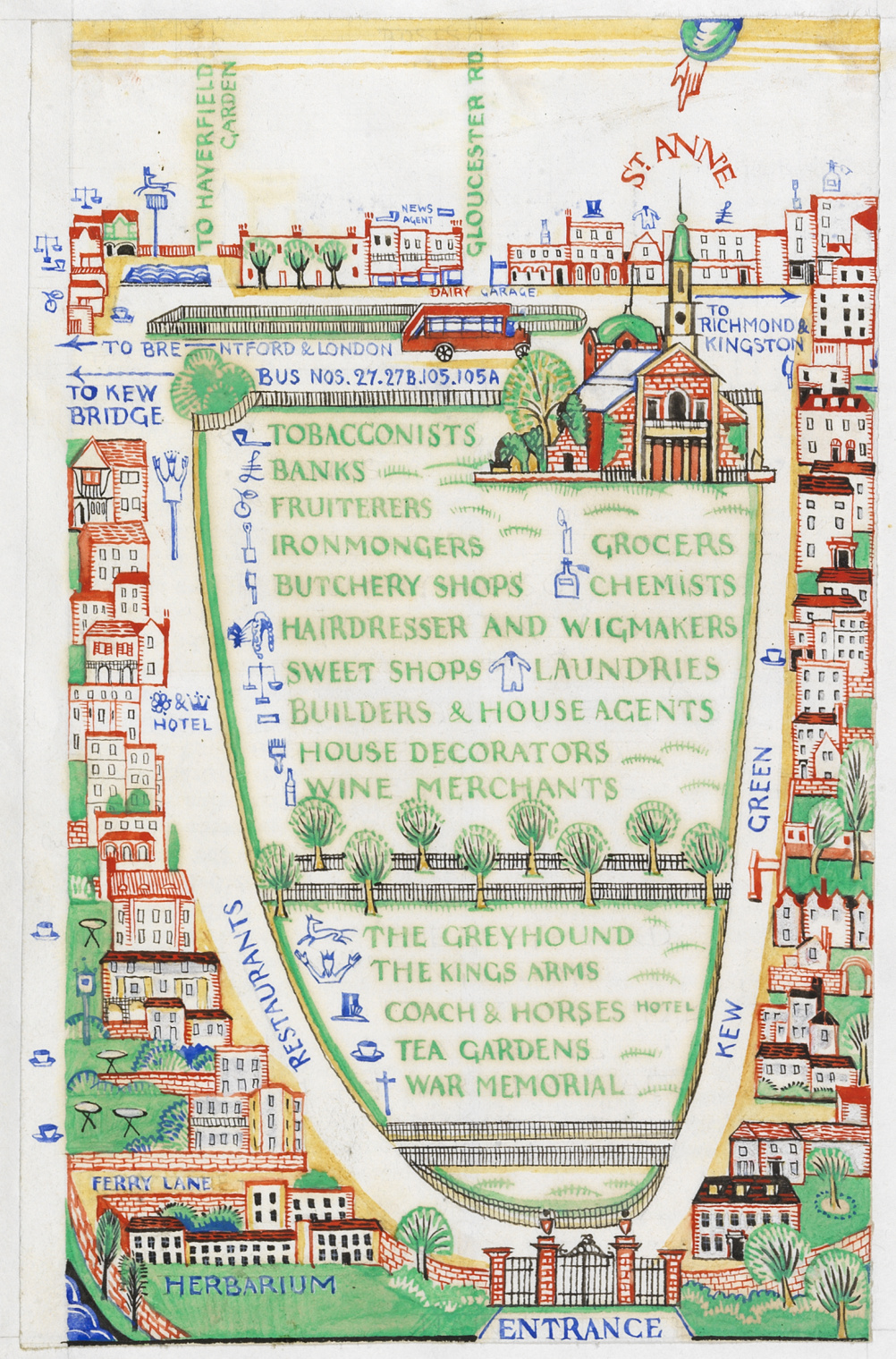 Edward Bawden (1903 – 1989) Detail from A General Guide to the Royal Botanic Gardens Kew, Spring & Easter 1923 © The Edward Bawden Estate Purchased with the assistance of the Art Fund