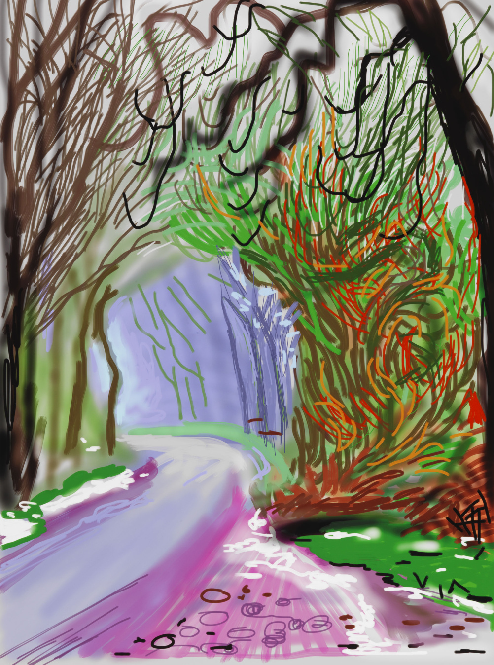 David Hockney, The Arrival of Spring in Woldgate, East Yorkshire in 2011 (twenty eleven) - 1 January 2011 iPad drawing printed on paper, edition 6 of 25