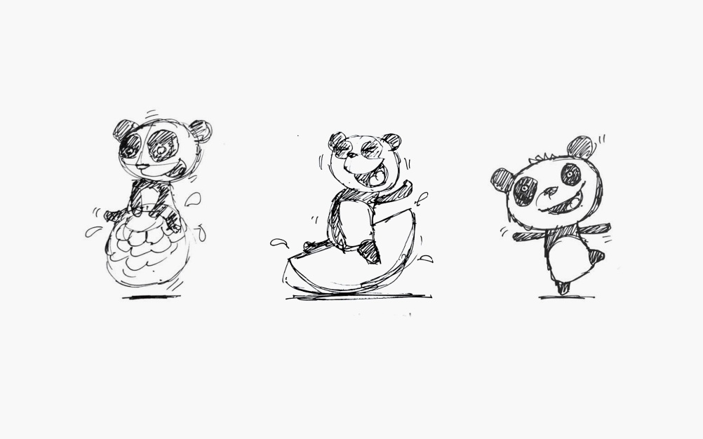 Melvin the panda sketches
