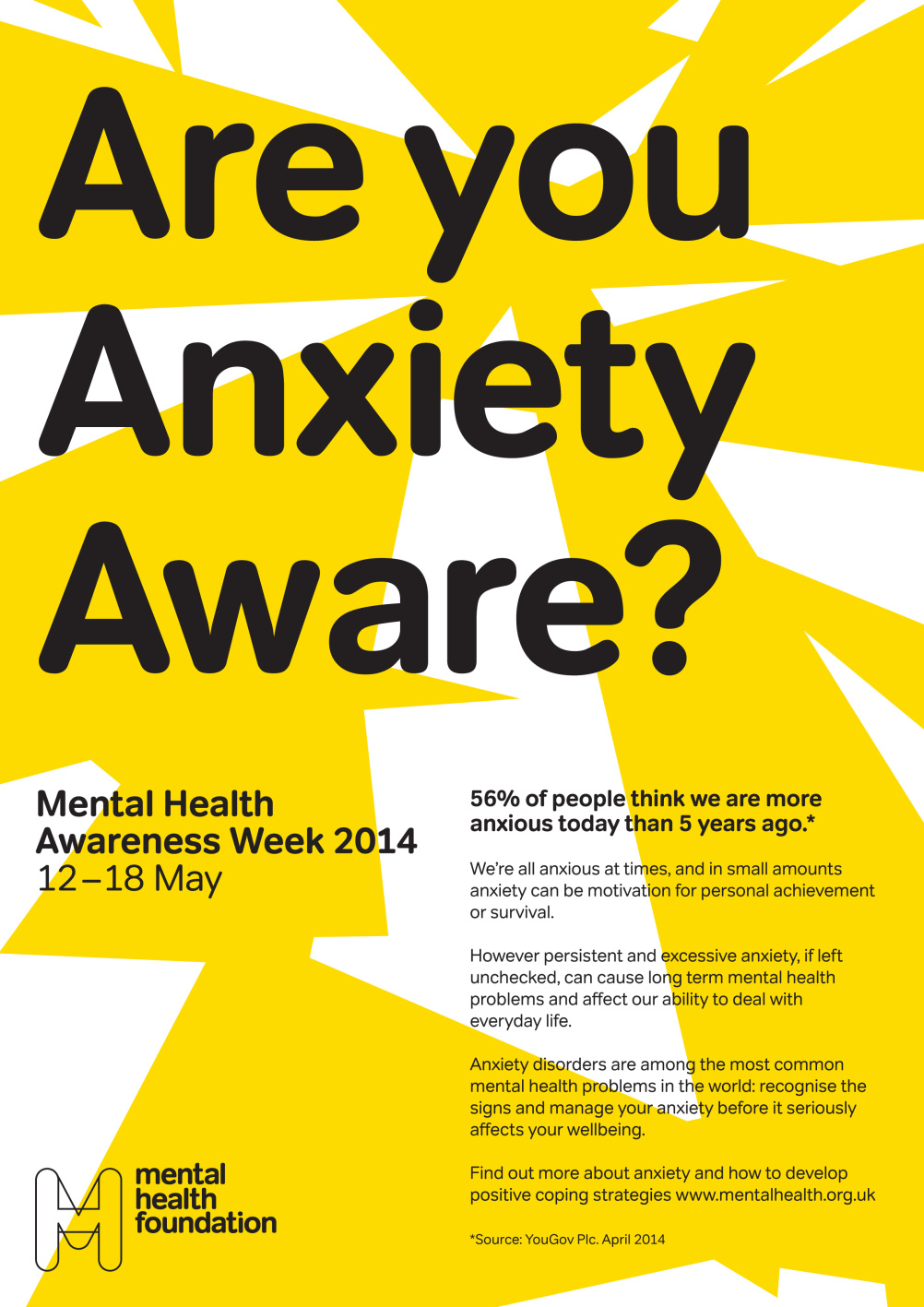 Anxiety Awareness Week poster in yellow