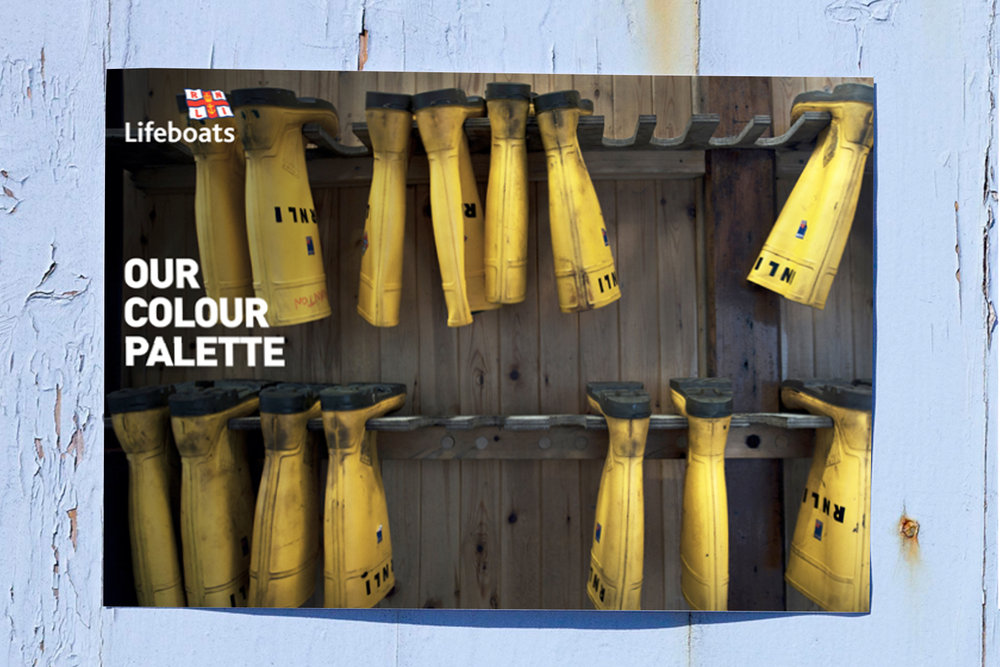 The colour palette is inspired by the RNLI