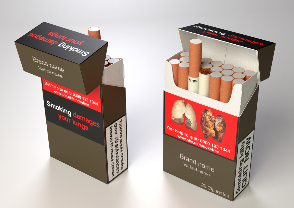 Proposed design for UK plain cigarette packaging
