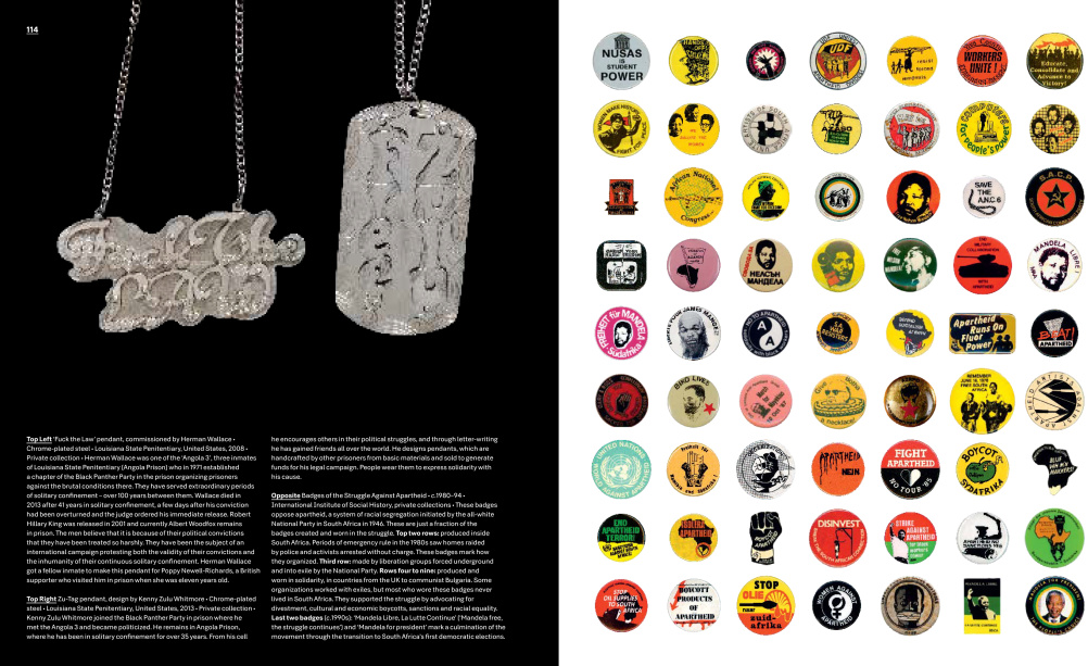 Fuck the Law pendant and badges of the Struggle Against Apartheid, 1980-94