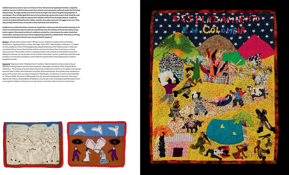 Arpilleras - 3D appliqued textiles made by women in Chile to depict suffering and violence