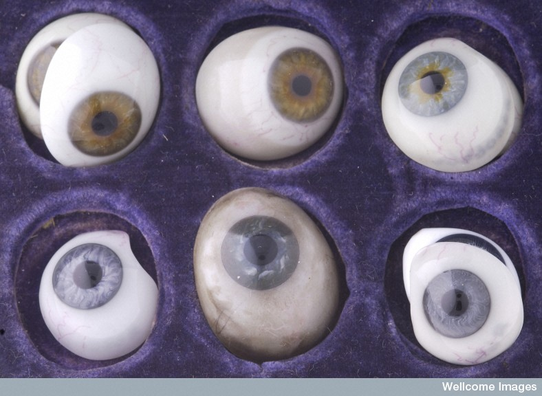 Photograph of glass eyes made by W Halford of London, 1890