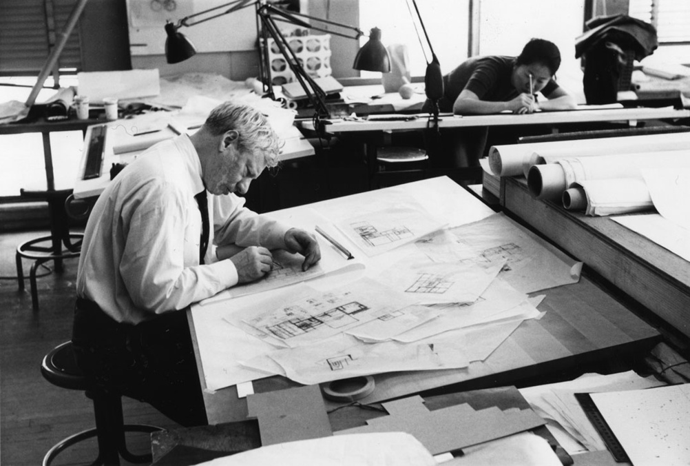 Kahn working on Fisher House design, 1961