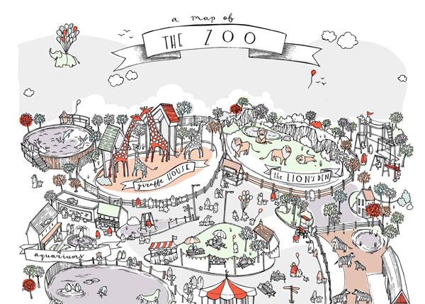 Olivia Whitworth, A Map of the Zoo closeup.