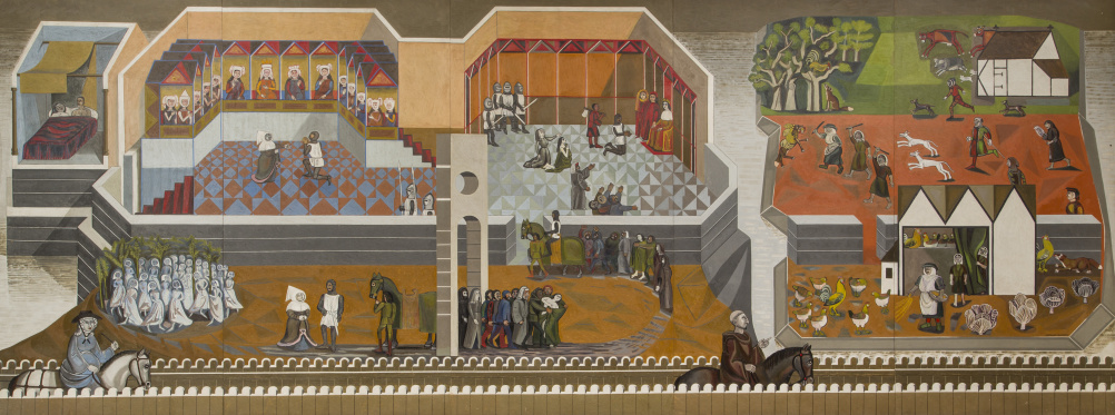 Canterbury Tales (1958-61), mural, oil on wood, by Edward Bawden CBE RA (1903-89)