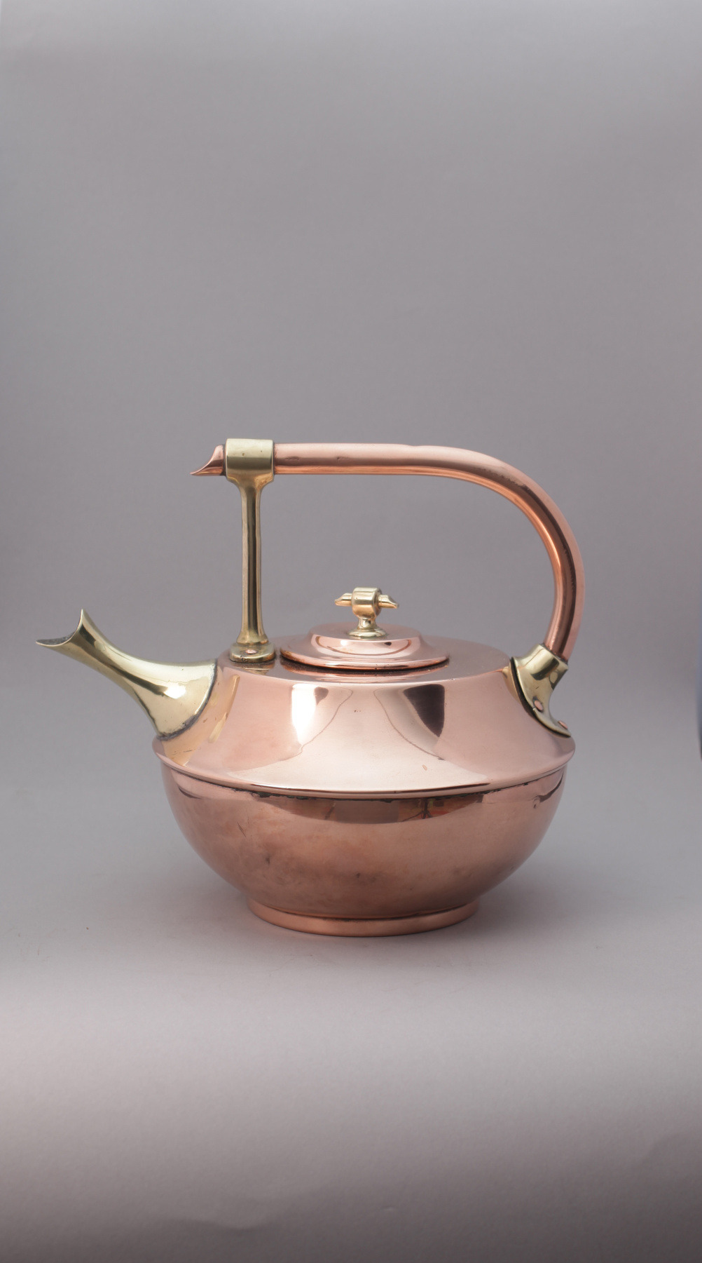 Christopher Dresser (1834-1904) Unknown maker. Kettle, c. 1885. Copper and brass