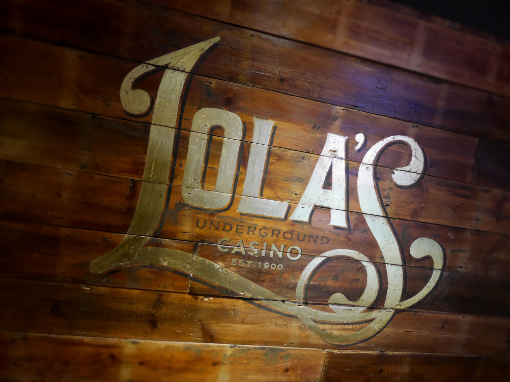 Handpainted sign for Lola's Casino