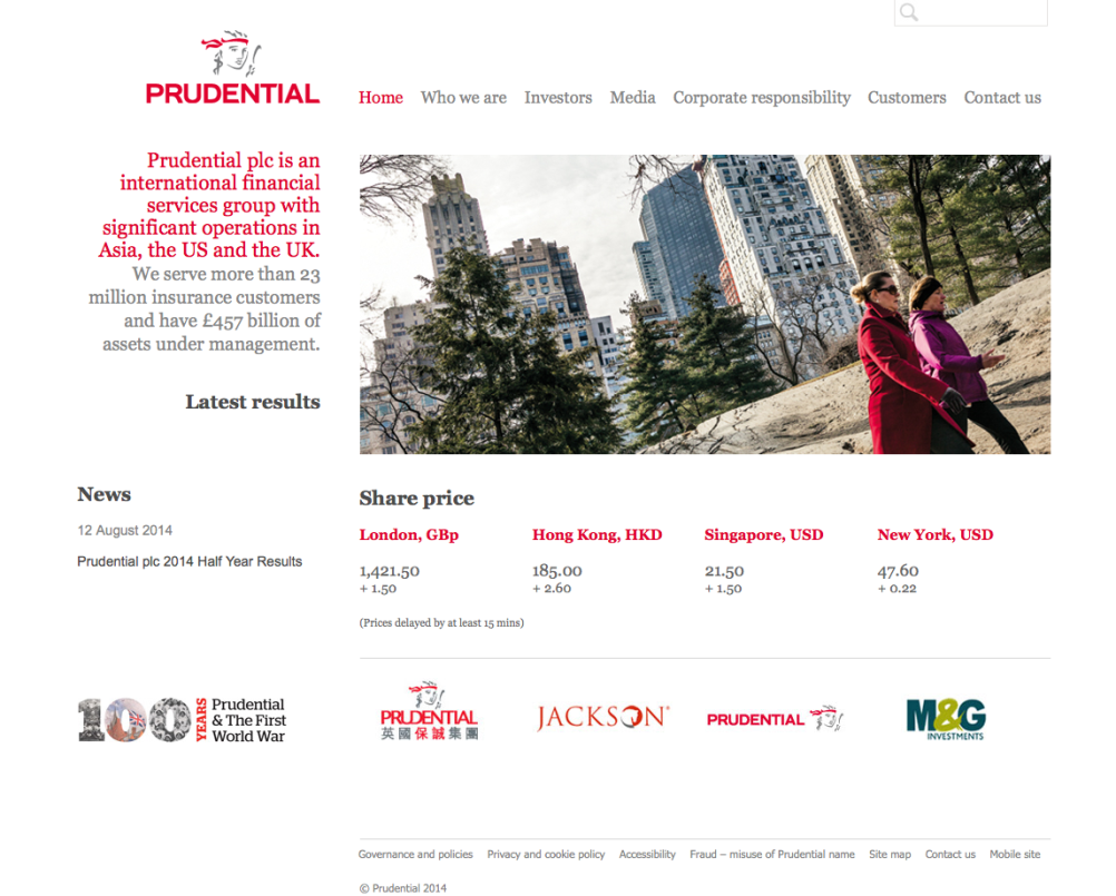 The current Prudential website