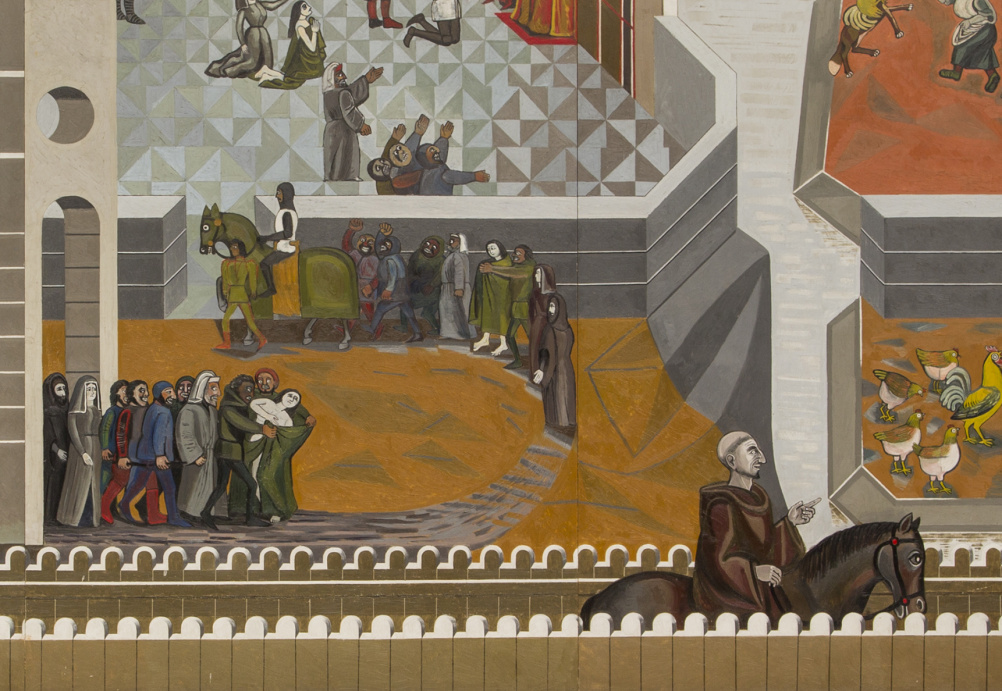 Detail from Canterbury Tales (1958-61), mural, oil on wood, by Edward Bawden CBE RA (1903-89)