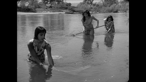 Screenshot featuring Toba Metz-Kubrick (left) who appears briefly as a fisherwoman in her husband's first feature, Fear and Desire, 1953