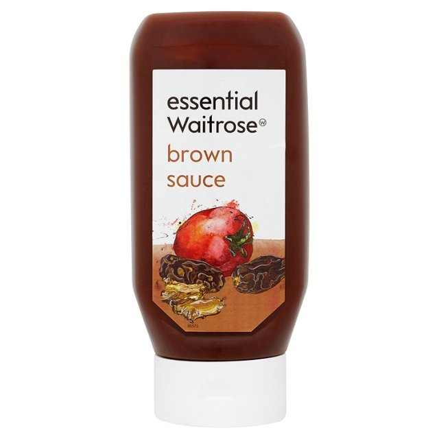 Essential Waitrose Brown Sauce packaging designed by Waitrose in-house team