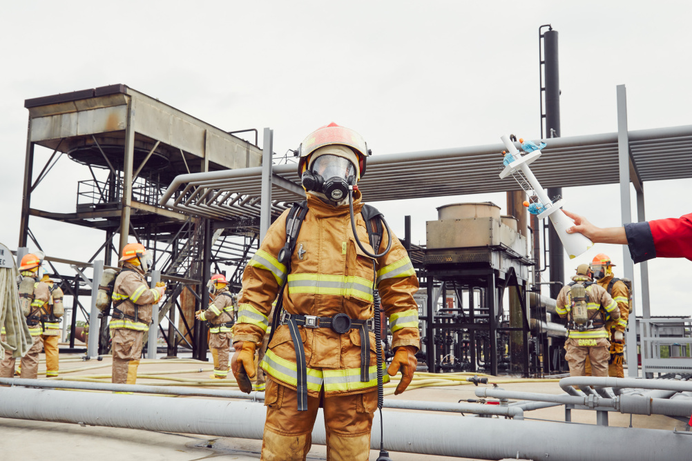 Firemen during training at Disaster City