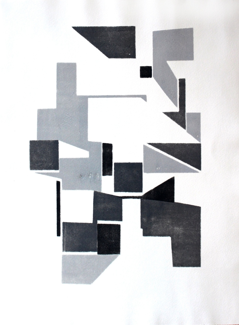 Some of Lachlan's previous work - from The Modulors series, Untitled (units), stencil monoprint