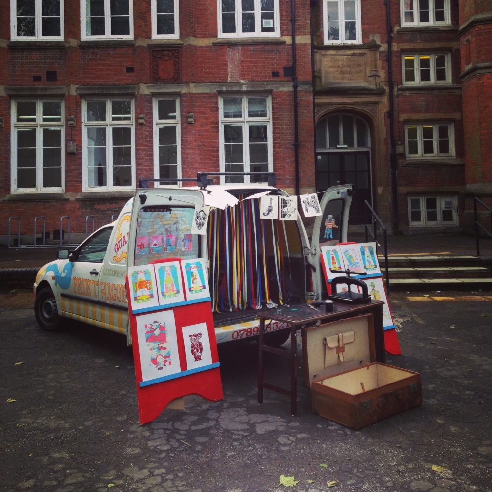 The Print Wagon touting its wares