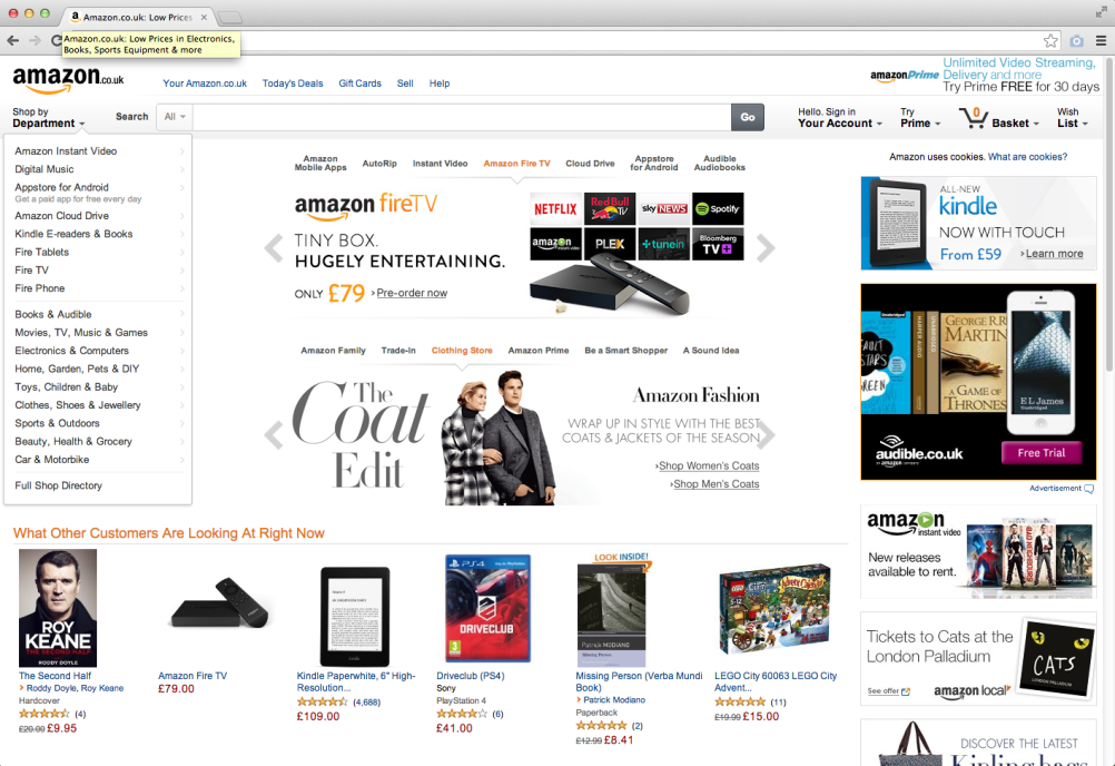 Amazon's UK website homepage
