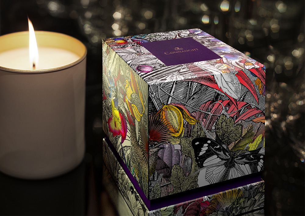 Butterflies feature on candle packaging