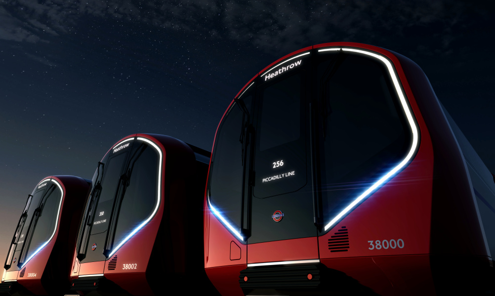 New train exterior at night