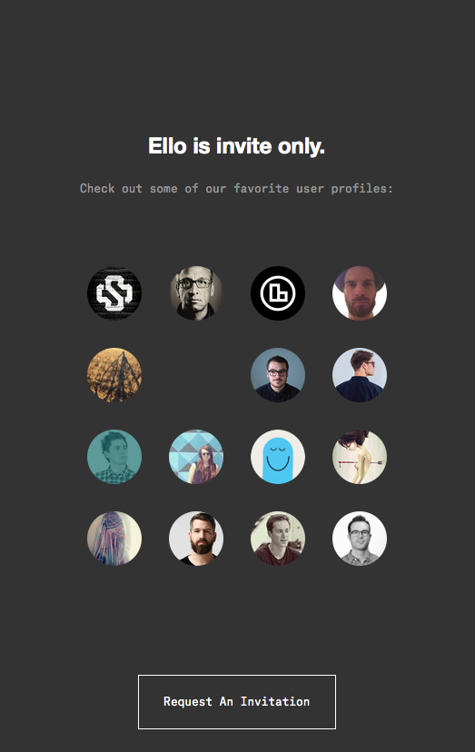 Ello's homepage as shown for non-members
