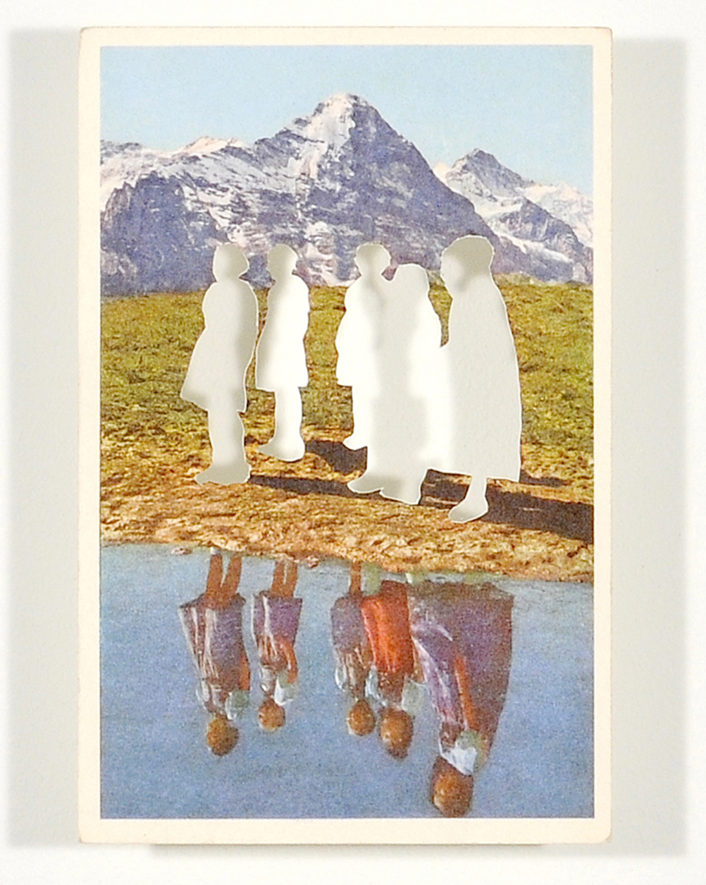 Tim Davies, from the series Figures in a Landscape, cut postcard, 2004-8