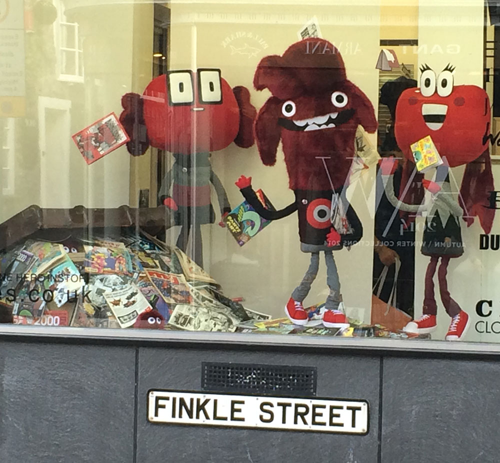 Felt Mistress's Lakes Gang characters in the shop window