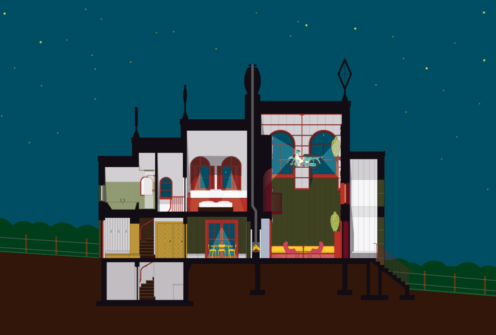 Night section, A House for Essex. Artist: FAT Architecture and Grayson Perry
