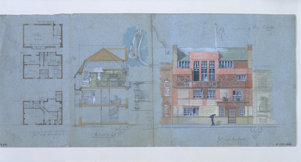 Design for an artists house and studio,Tite Street, Chelsea, 1878. Edward William Godwin
