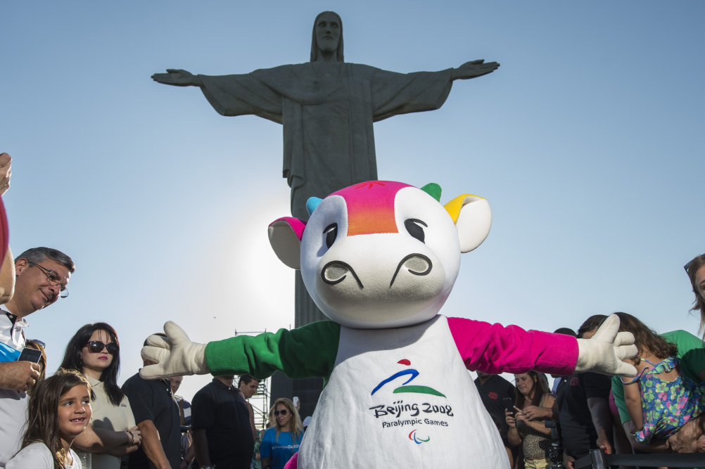 Fu Niu Lele, the 2008 Beijing Paralympics mascot does its best impression of Christ the Redeemer